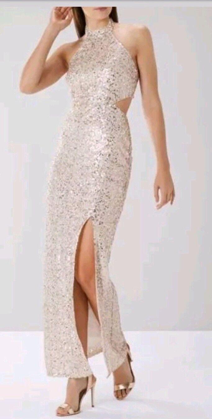 Coast Ariel Paillettes Noël Prom Ball Robe longue Größe 16 NEUF