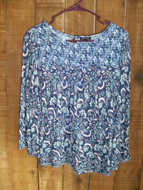 Lucky Brand Womens Size M Floral Long Bell Sleeve Shirt Blouse BOHO Lot 265