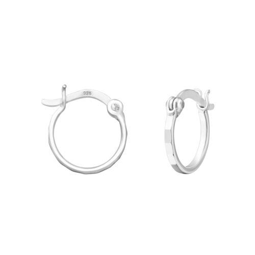 925 Sterling Silver 12mm Patterned French Lock Hoop Sleeper Earrings Pair