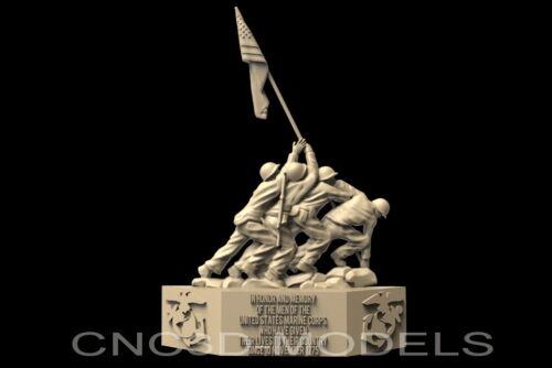 3D STL Model for CNC Artcam Aspire USA Iwo Jima United States Marine Corps D7
