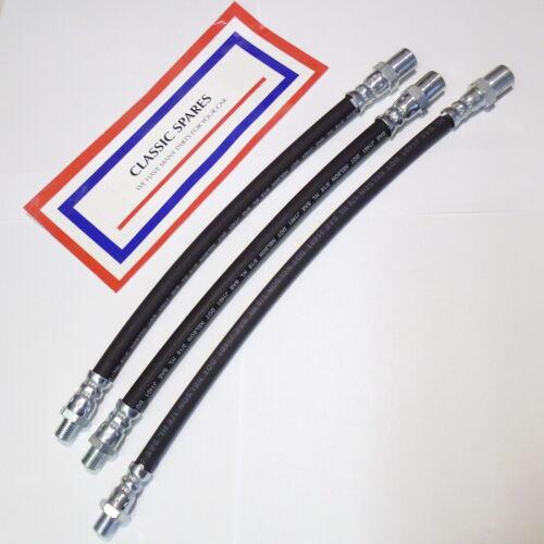 WOLSELEY 6//90 SERIES 1 /& 2 54 TO 58 FLEXIBLE BRAKE HOSE SET 2 X FRONT 1 X REAR