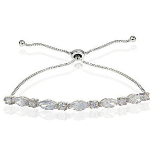 Sterling-Silver-Cubic-Zirconia-Marquise-and-Oval-cut-Adjustable-Bracelet