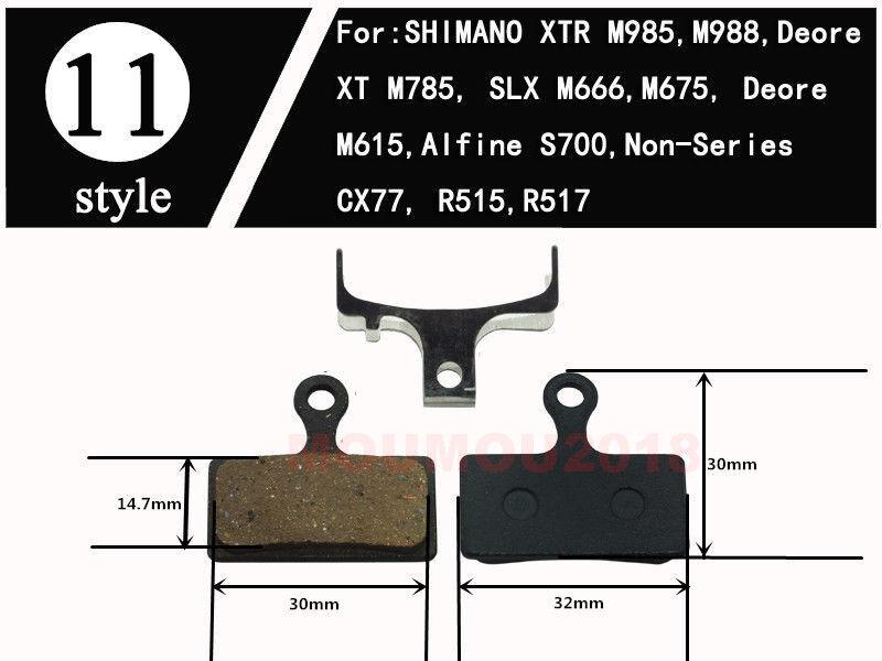 2Pair Bicycle Disc Brake Pad For Shimano XTR M985 M988 XT M785 SLX M666 Resin TW