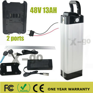 US 48V 13Ah Electric Bicycle Lithium-ion Battery Pack 500W eBike 2 Pongs Charger