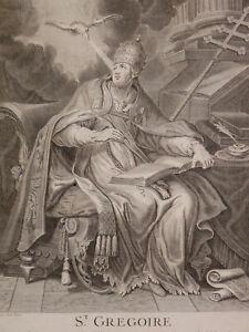 Antoine Dieu (1662-1727) Rare Gravure Représentant Saint Grégoire Pape Vatican