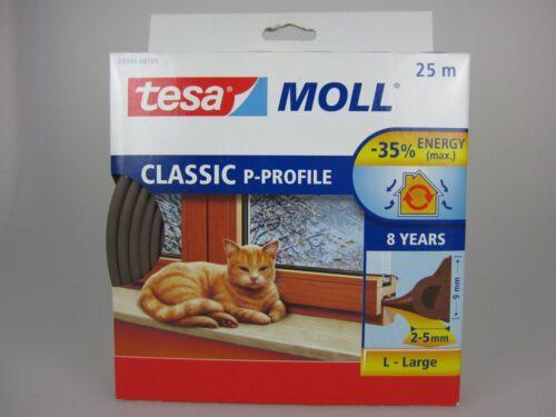 9mm tesa Moll P-Profil Classic braun Fensterddichtung Türdichtung  2-5mm 25m