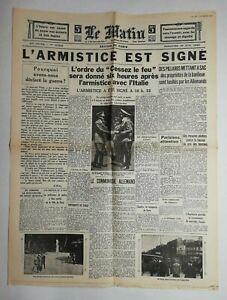 N762-La-Une-Du-Journal-Le-Matin-23-juin-1940-l-039-armistice-est-signe