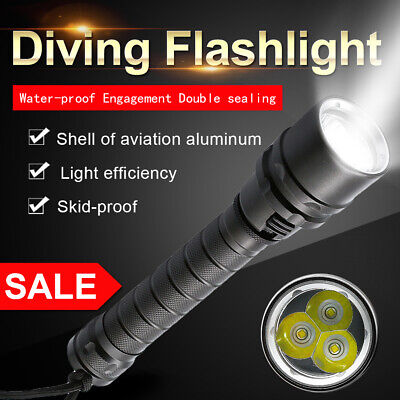 NEW Waterproof 3x T6 LED Scuba Diving Flashlight Underwater 100M Torch 18650