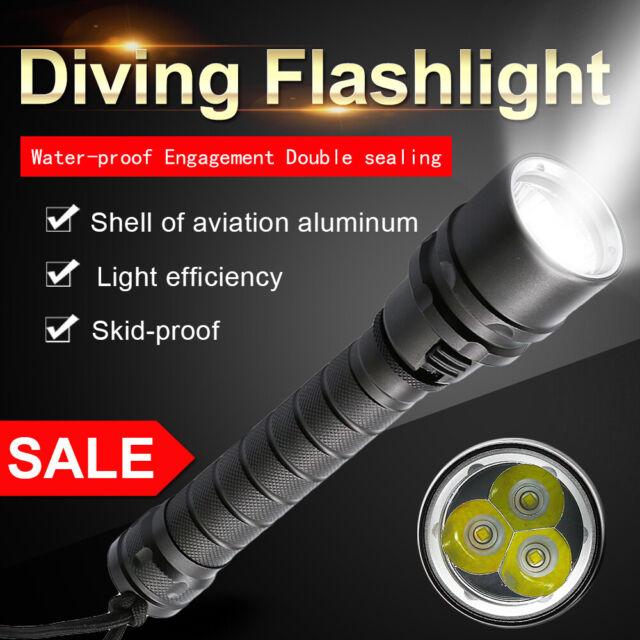 Underwater Diving Scuba T6 LED Flashlight Waterproof Torch Lamp Light Powerful