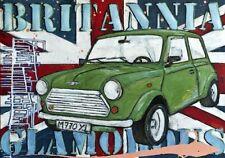 Britannia vintage Mini Cooper picture art print union jack flag poster retro NEW