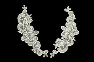 """9.5""""x3"""" Ivory Bridal Beaded Sequins Embroidered Motif Applique by Pair"""