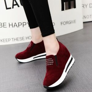 02f09fdeae960e Image is loading Womens-High-Platform-Sneakers-Hidden-Wedge-Slip-on-