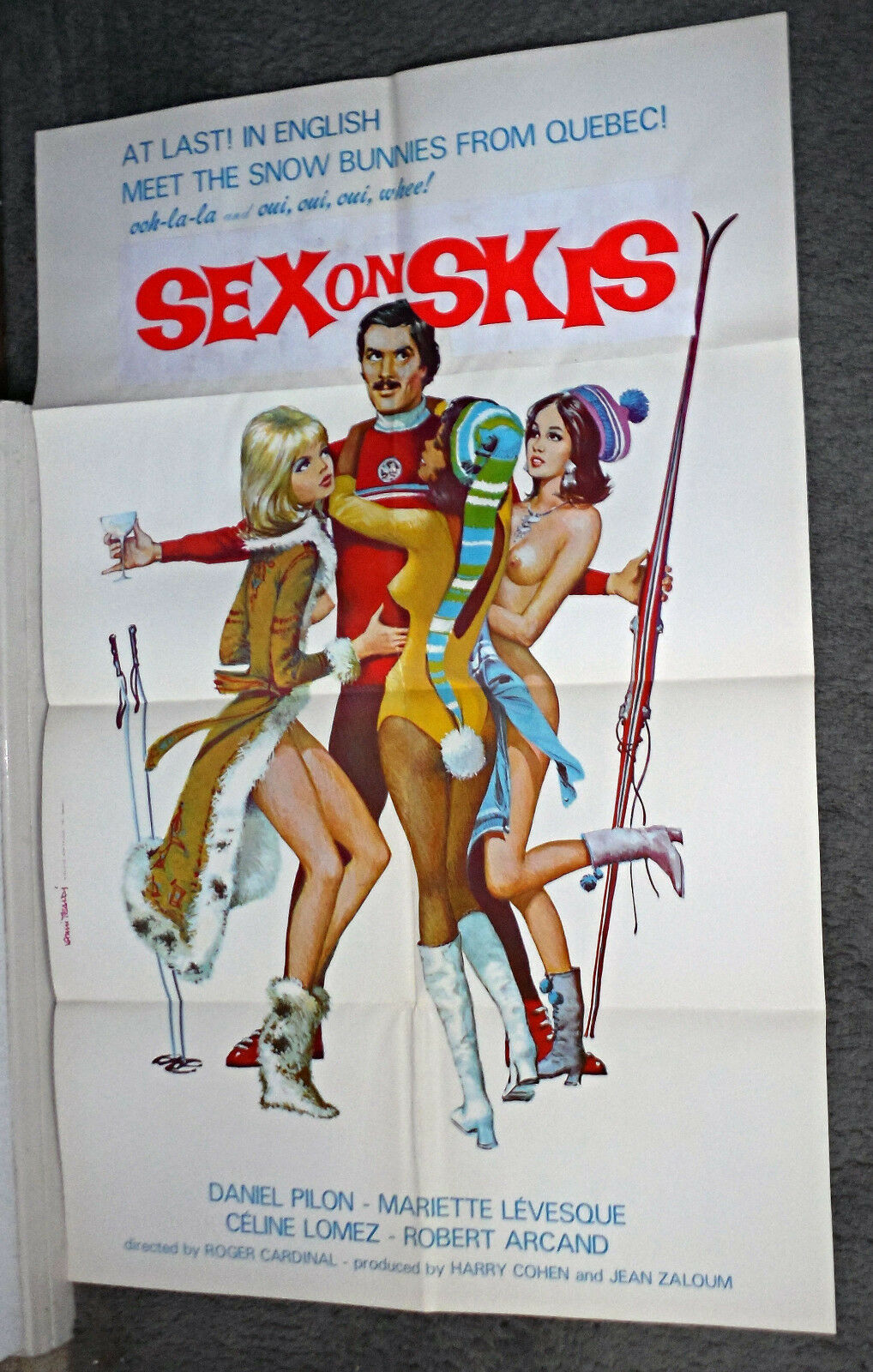 SNOW SKIING SEXY NAKED BABES original 1972 movie poster SEX ON SKIS