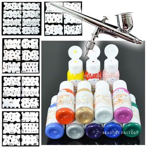 Full-Airbrush-Painting-Set-12-Color-Paint-Stencil-235