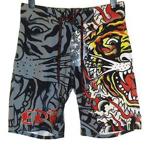 Bnwt-Authentic-Men-039-s-Ed-Hardy-Board-Swim-Surf-Shorts-Burning-Tiger-New-Black
