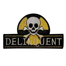 Delinquent Skull Crossbones Iron On Badge Applique Patch KN 379