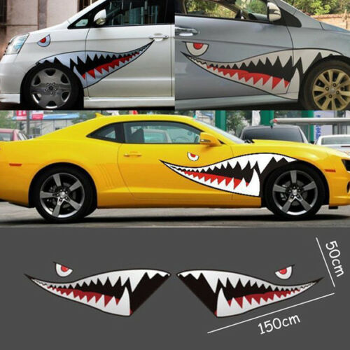 Pair 59/'/' Size Shark Mouth Teeth Graphics Vinyl Car Sticker Decal Graphics Well