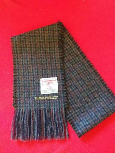Harris Tweed 100/% wool Black and grey houndstooth scarf