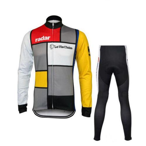 Men/'s Thermal Fleece Cycling Jersey Suit RADAR LA VIE CLAIRE Set Gel Bib Pants