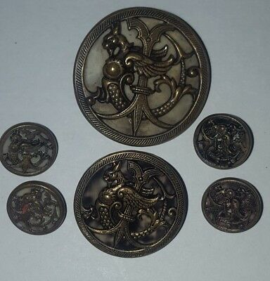 6 x vintage buttons lot for sewing antiqued brass cricketer faux tortoiseshell