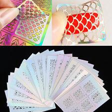 New 3 Sheets Irregular Pattern Hollow Nail Art Vinyls Stencil Stickers Manicure