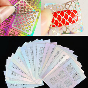 3Pcs-Nail-Art-Vinyls-Nagel-Schablonen-Sticker-Irregulaer-Muster-Stencil-Stickers