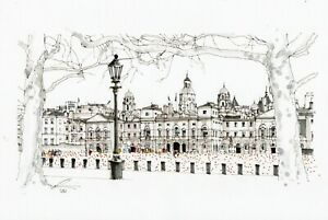 A3-Art-Print-Poster-Horse-Guards-Parade-London-Hand-Sketched-Army-Military-Art