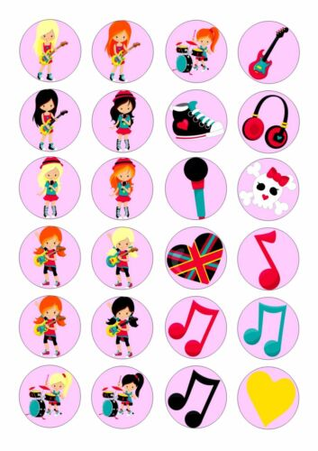 MUSIC  ICE//ICING EDIBLE FAIRY//CUP CAKE//BUNS  TOPPERS 24 GIRLS ROCK STAR