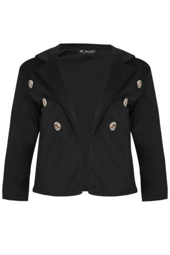Da Donna Cascata Cardigan Donna Aperto Sul Davanti Bottone Oro Militare Corta Blazer