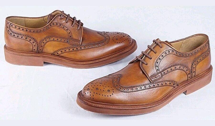 New MAGNANNI Neto Wingtip Brogue Oxford Men's 9.5 M Cognac Brown shoes Spain  350