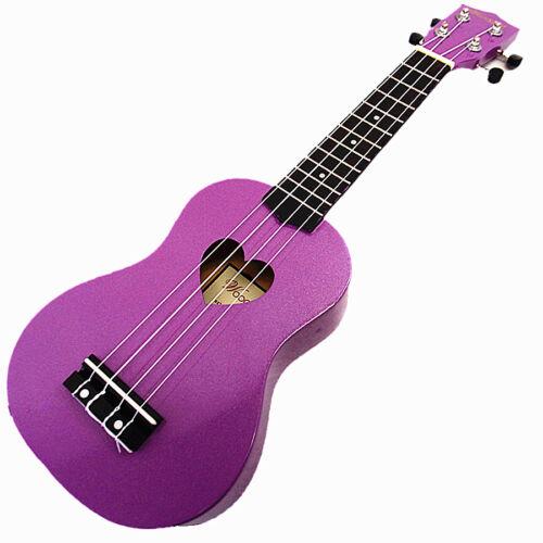 "21/"" Soprano Wooden Ukulele /& Carrying Bag Beautiful Purple with Heart Hole"
