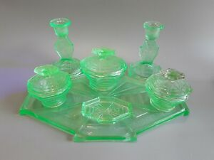 Art-deco-davidson-uranium-glass-Dressing-Table-set-vgc
