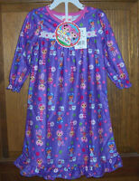 Lalaloopsy Nightgown Toddler Girls' Purple Soft Long Flannel Granny Size 2t