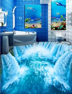 3D bluee Waterfall Sea 7 Floor Wall Paper Murals Wall Print AJ WALLPAPER UK Lemon