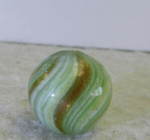 #12698m Vintage German Handmade Onionskin Lutz Marble .56 Inches NM+