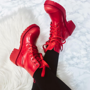 Cape Robbin UNITE Red Lug Sole Round Toe Chunky Platform Ankle Combat Boot