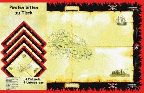 8tlg Platzset Schatzkarte für 4 Kinder zur Piratenparty!