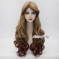 Flaxen Mixed Brown Anime Cosplay Party 70CM Long Curly Lolita Halloween Wig