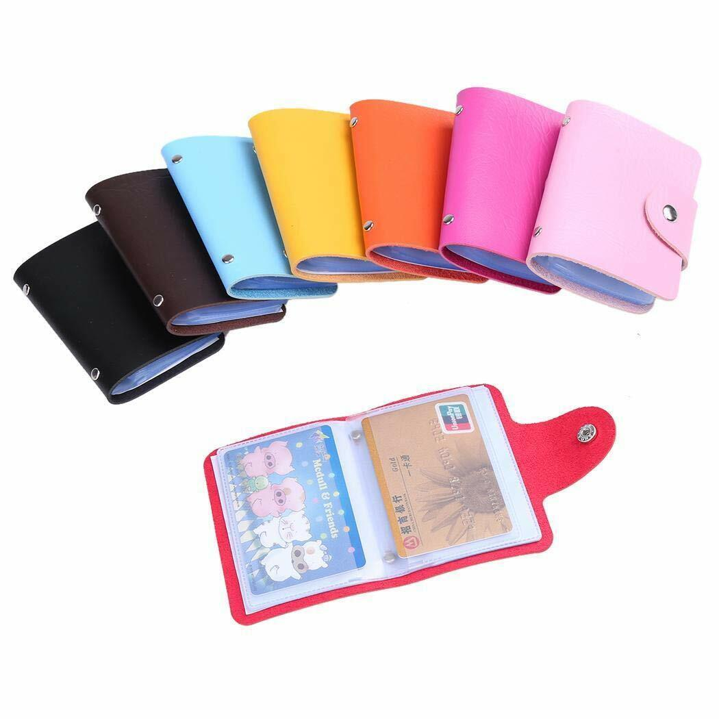 New 24 Cards Pu Leather Credit ID Business Card Holder Pocket Wallet Purse Box