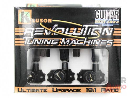 Metal Keystone Buttons Kluson Revolution KRGL-3-B 3X3 Locking Tuners BLACK