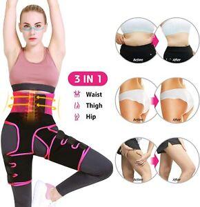3in1 Elastic Band High Waist Trainer Thigh Trimmer Fitness Butt Lifter Burn Belt