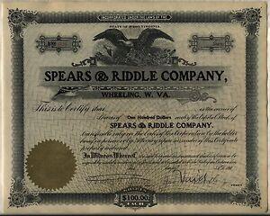 Spears-amp-Riddle-Stock-Certificate-Oil-Refining-Wheeling-West-Virginia-Unissued