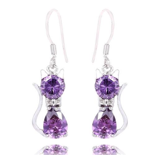 New Lovely Women Girls Jewelry Cubic Zirconia Cat Earrings Dangle Drop Earrings