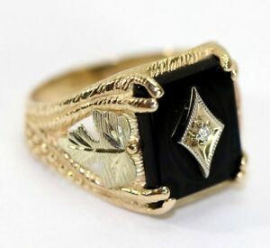 7171c46f5f110 Details about 10K YELLOW GOLD, Black Hills Gold, ONYX, DIAMOND Mens Ring-  Size 10.5 - 6.3 Gram