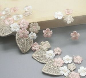 1-Yard-Embroidered-Golden-Lace-Fabric-Clothing-Sewing-Trim-Flower-Ribbon-DIY