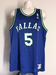 Vtg 90s Jason Kidd Dallas Mavericks Jersey Blue 48 Champion Made In ... 28cf3bb1e