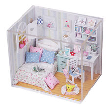 New Kits DIY Wood Dollhouse miniature with LED+Furniture+cover Doll house room