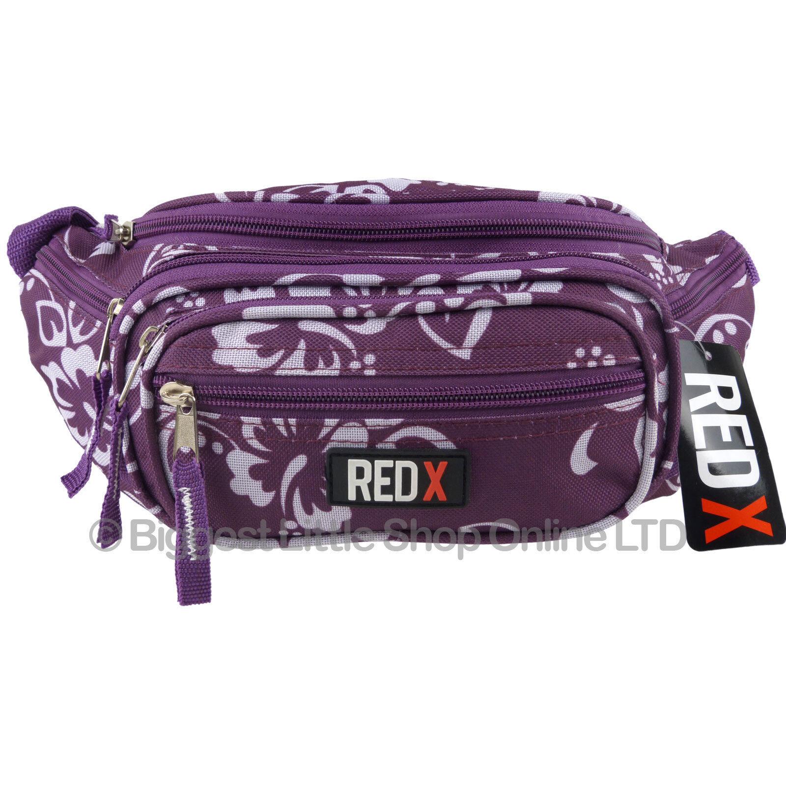 Neuf femme filles toile toile toile hibiscus taille bum sac par x rouge voyage vacances festival 117da9