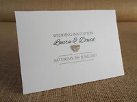 Handcrafted Personalised Mini Glitter Heart Wedding Invitations Day/Evening *NEW