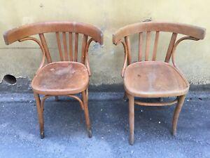 2 Sedie Antiche.Dettagli Su Mag 2 Sedie In Legno Tonet Schiena Tonda Vintage Anni 60 Antiche